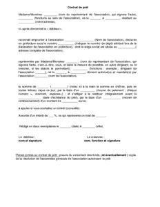 modele contrat de pret entre particulier gratuit contrat de pr 234 t d une association 224 dirigeant mod 232 le