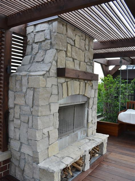 Outdoor Stacked Stone Fireplace Hgtv