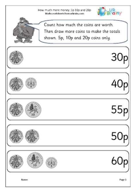 how much more money 5p 10p 20p money maths worksheets for year 2 age 6 7