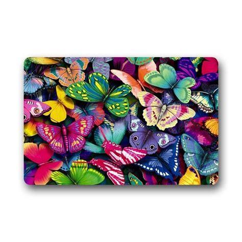 Colorful Doormat by Custom Machine Washable Door Mat Colorful Butterflies