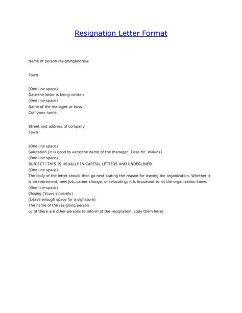 letter  resignation format gplusnick