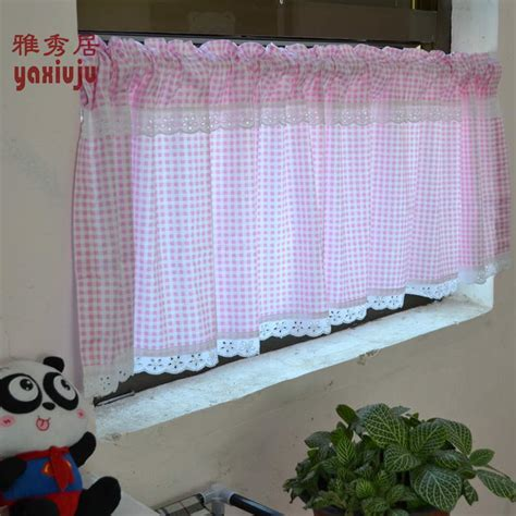 free shipping cotton twill lace pink plaid country rustic
