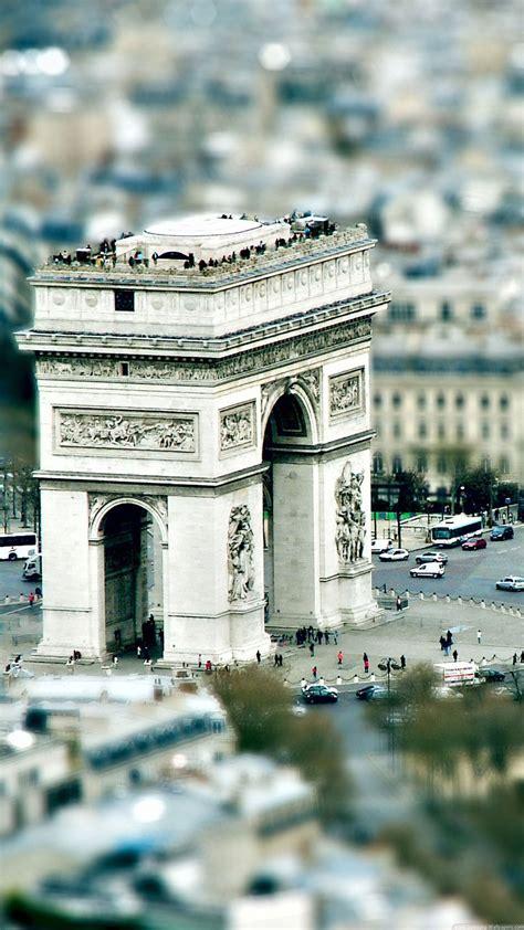 paris arc de triumph tilt shift iphone   hd wallpaper