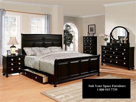 amherst black bedroom furniture set queen king storage bed
