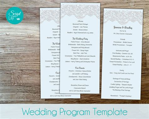lace wedding program template sided free color