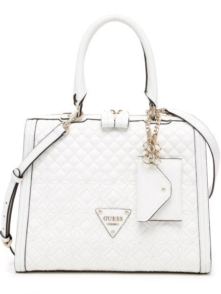 Guess Jordyn Satchel White buy guess s sunset quilt satchel bag white vg493306