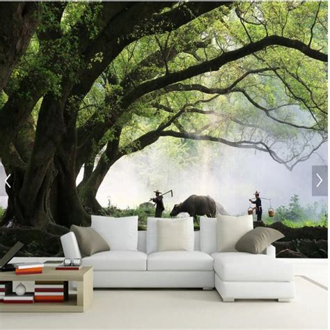 large scale wallpaper murals aliexpress com buy large scale custom murals wallpaper 3d landscape tree wallpaper living room