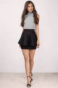 Cheap Black Skirt - Black Skirt - High Waisted Skirt - Black Flare Skirt - $15 | Tobi US