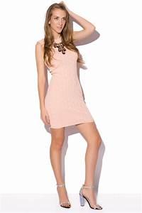 Vestido Corto de punto estampado rosa palo