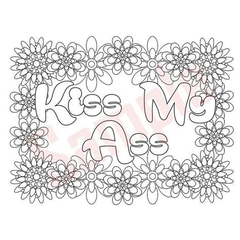 sweary coloring page kiss   swearing coloring