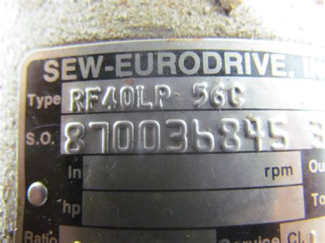 sew eurodrive inc rf40lp 56c in line speed reducer output flange mounted