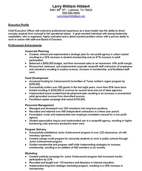Sle Resume For Executive Director by Executive Director Resume Sle Non Profit 28 Images