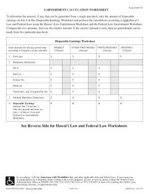 Hawaii Garnishment Calculation Worksheet  Fill Online, Printable, Fillable, Blank Pdffiller