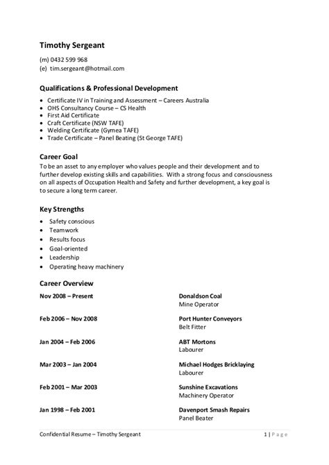 Sergeant Resumes by Confidential Resume Of Timothy Sergeant