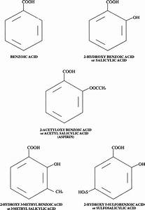 Molecular Structures Of Benzoic Acid And Salicylic Acid