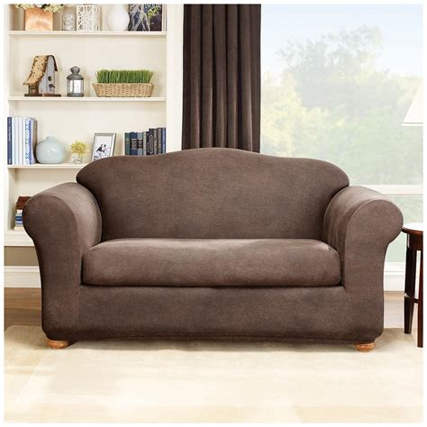 Slip Cover Loveseat by Sure Fit 174 Stretch Leather 2 Pc Loveseat Slipcover