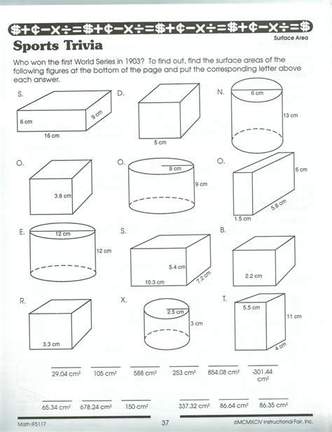 Surface Area And Volume Worksheet Worksheets For All  Download And Share Worksheets  Free On