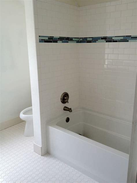 bathroom trim ideas subway tile walk in shower subway tile with glass tile