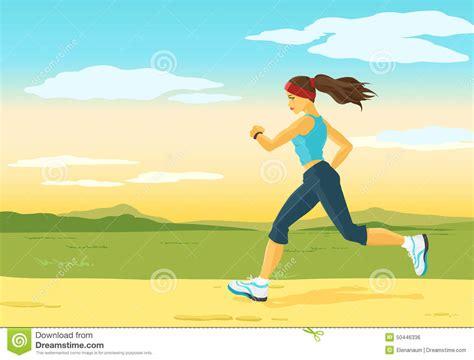 Running Woman, Morning Jogging Stock Vector