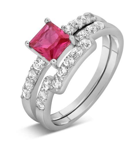 2 carat pink sapphire and diamond wedding ring set in