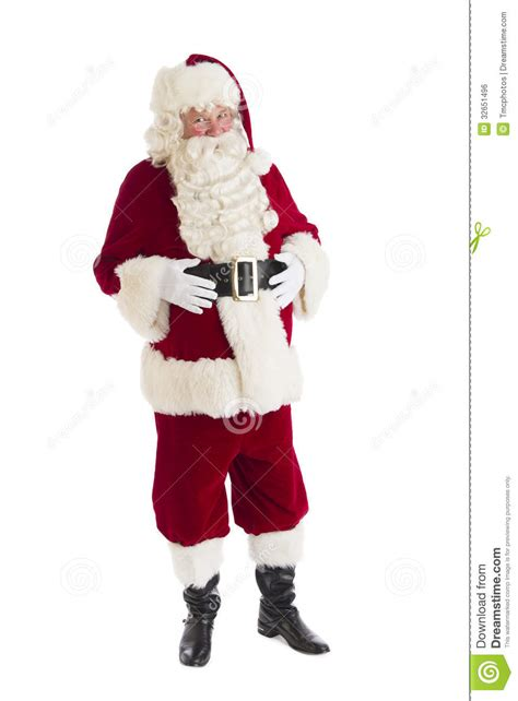 portrait of santa claus with hands on stomach stock photo