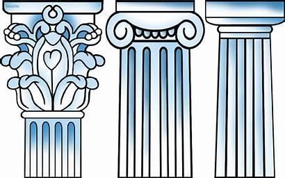 Greek Ancient Columns Greece Clipart Drawing Column