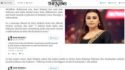 pakistan paper quotes fake rani mukherji twitter account urging referendum  kashmir