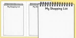 My Shopping List Writing Frames - my shopping list writing