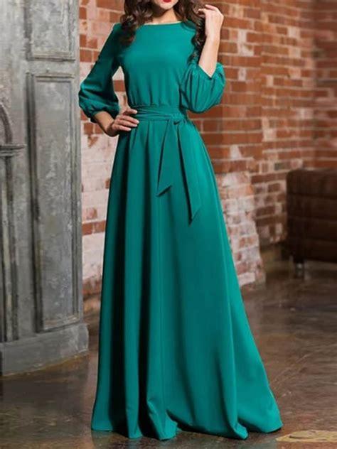 green sashes draped long sleeve  neck elegant maxi