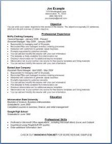 Exle Of Resume by Free Resume Sles Sle Resumes