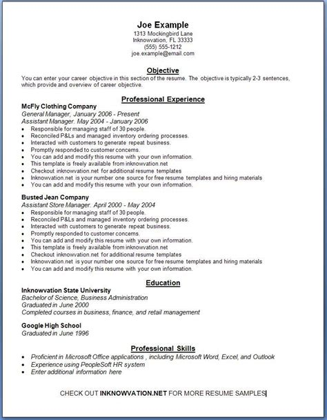 Free Resume Outlines by Free Resume Sles Sle Resumes