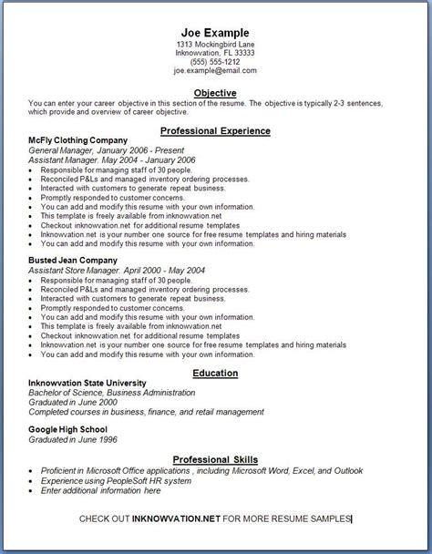 free resume sles online sle resumes