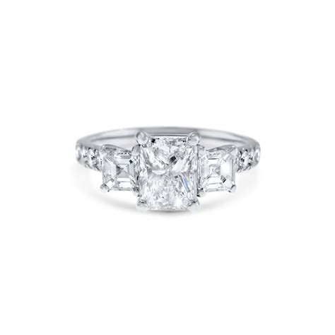 radiant cut three stone engagement ring fairfax roberts