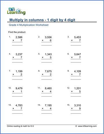 4 Digit By 1 Digit Multiplication Worksheets Resultinfos