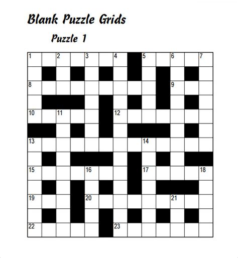 10+ Blank Crossword Templates  Sample Templates