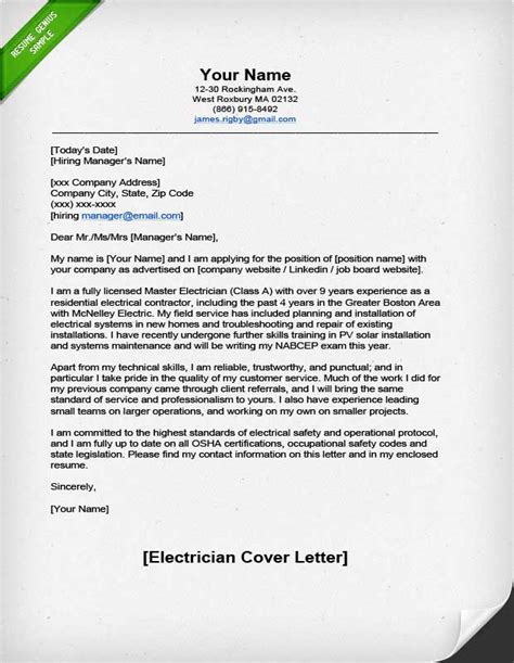 electrician cover letter samples professional electrician cover letter resume genius
