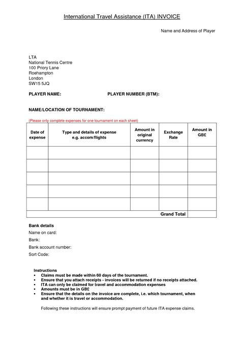Travel Agency Invoice Format * Invoice Template Ideas