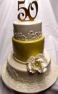 Gold and Elegant 50th Anniversary Cake Decoration Idea