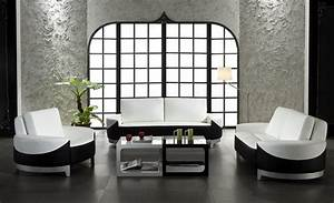 Unique design black and white living room leather for White room black furniture