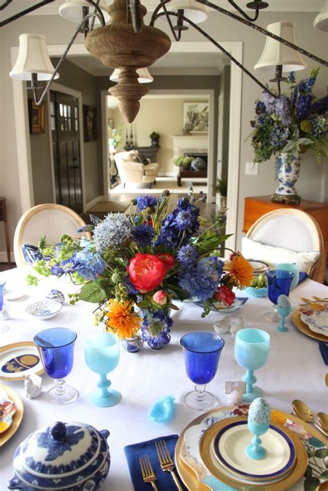 setting  table  easter dinner  colorful floral