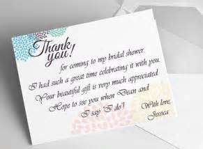 wedding shower thank you cards bridal shower thank you card ideas
