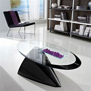 Table Basse Design Ovale En Verre - Pamela 2