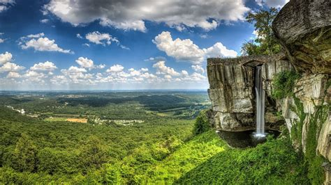 Clouds, Rock City, Waterfall, Georgia, Usa, Tennessee