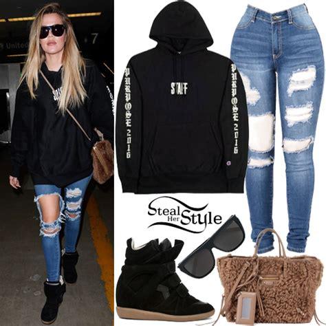 Khloe Kardashian: Black 'Staff' Hoodie, Ripped Jeans ...
