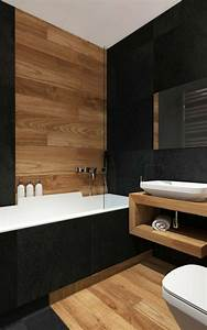 Salle De Bain Blanche Et Bois : 1001 id es pour cr er une salle de bain nature salle de bain bois murs noirs et c ramiques ~ Preciouscoupons.com Idées de Décoration