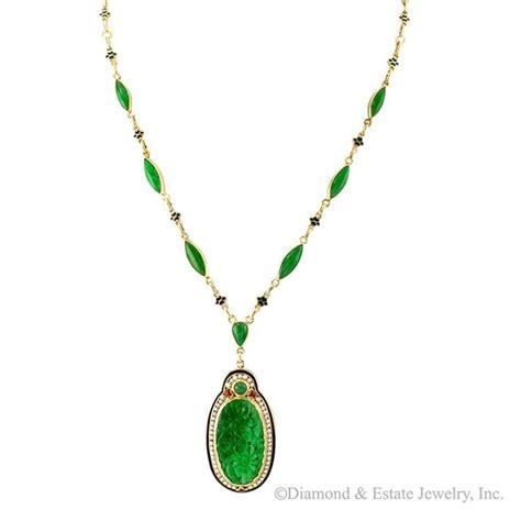 1925 deco carved jadeite pearl enamel gold necklace at 1stdibs