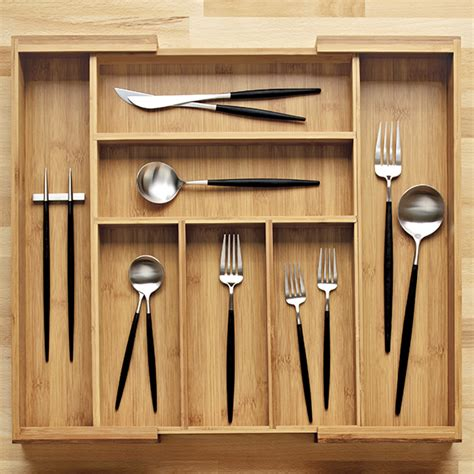 kitchen cutlery storage expandable bamboo cutlery tray the container 1062