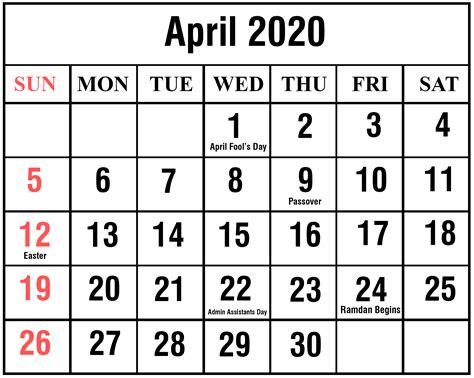 april calendar printable templates excel word