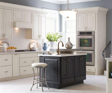 white sullivan kitchen cabinets  dark grey island