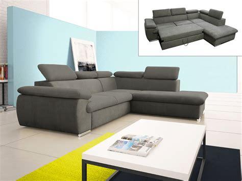 canapé d angle en tissu canapé d 39 angle convertible en tissu taupe ou noir fabien